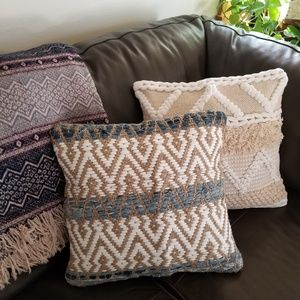 Denim, Cotton & Jute Woven Toss Pillow Cover